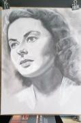 Ingrid Bergman, retrato al pastel y carboncillo, autor Jose Manuel Gallego Garcia, todos los derechos reservados, visita retratarte.org