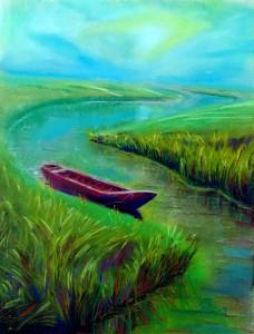La barca, pintura al pastel, autor Jose Manuel Gallego Garcia, todos derechos reservados, visita retratarte.org