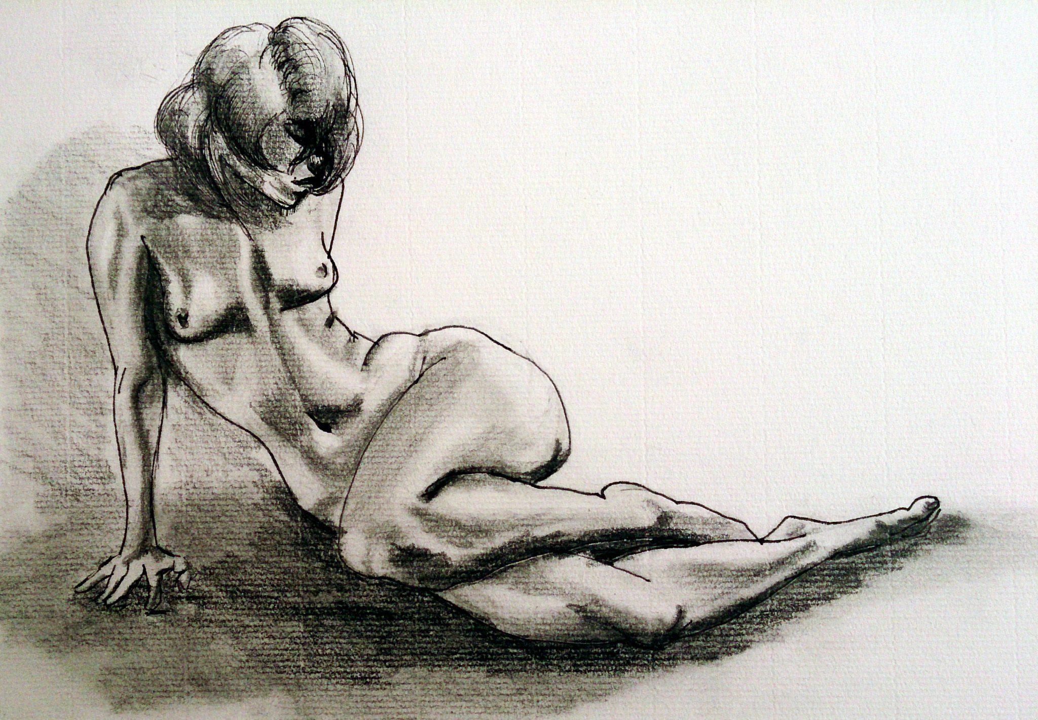 Nude Female Figure Hips Study in graphite and Ink, author: Jose Manuel Gallego Garcia, all rights reserverd, visit retratarte.org
