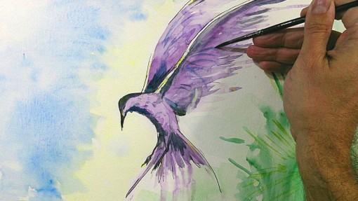 Acuarela para Principiantes Cómo Pintar un Pájaro con Efectos 510x287 - Acuarela. Autor Jose Manuel Gallego Garcia. Todos los derechos reservados. visita: retratarte.org
