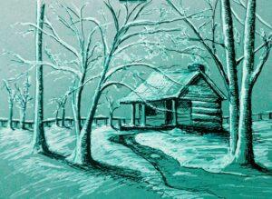 Una cabaña en invierno Cabin in a winter landscape Author Jose Manuel Gallego Garcia all rights reserved visit retratarte.org  300x219 - Selección de Obras de José Manuel Gallego García