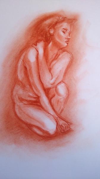 La emoción de un abrazo. Boceto en sanguina realizado por Jose Manuel Gallego Garcia. Todos los derechos reservados.