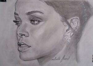 Rihanna retrato a lápiz autor Jose Manuel Gallego Garcia todos los derechos reservados visita retratarte.org  300x212 - Cómo Encargar un Retrato a Mano